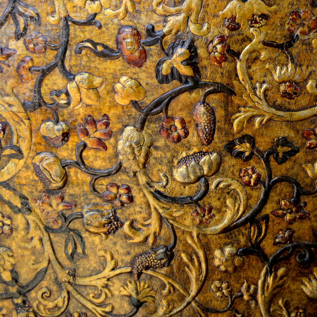 Harlaxton Manor  Detail Of Tooled Leatherwork From State Dining Delectable Haunted Mansion Dining Room Design Ideas