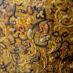 Detail of tooled leatherwork from State Dining Room door