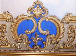 Detail of plasterwork on the Long Gallery ceiling showing a GG monogram