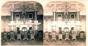 The State Dining Room stereograph dated 1860s during John Sherwin Gregory's era